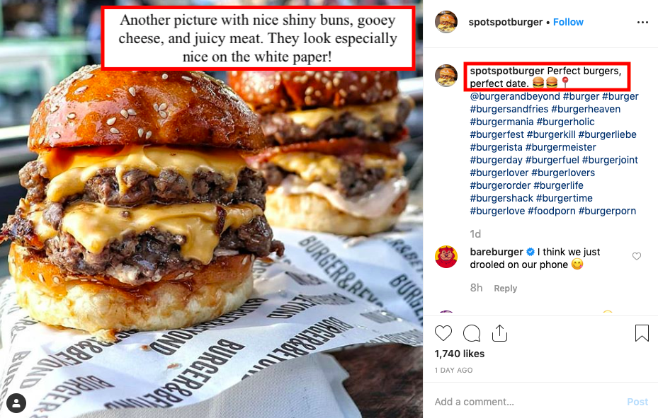 burger captions for instagram