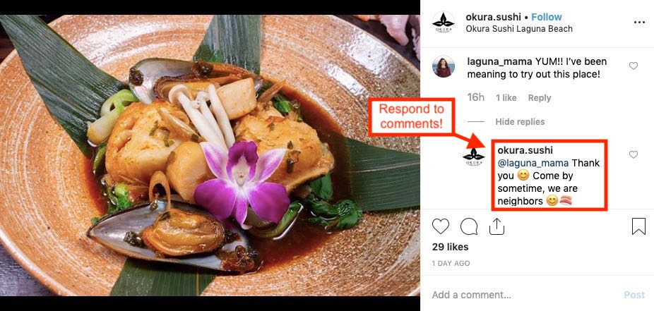 Instagram post of restaurant replying to a follower's comment