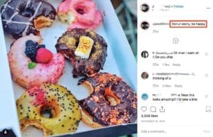 Instagram post showing 6 donuts with bites taken out of each