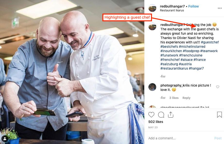 Instagram Post of two chefs collaborating