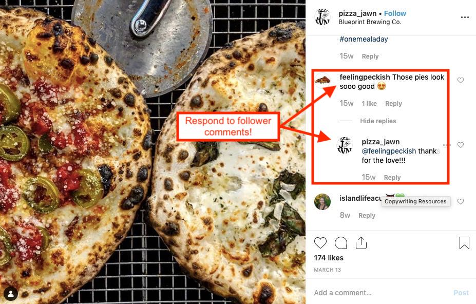 Instagram post showing pizza shop responding to customer comments