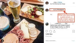 Instagram post of meat and cheese goals with #foodgoals caption