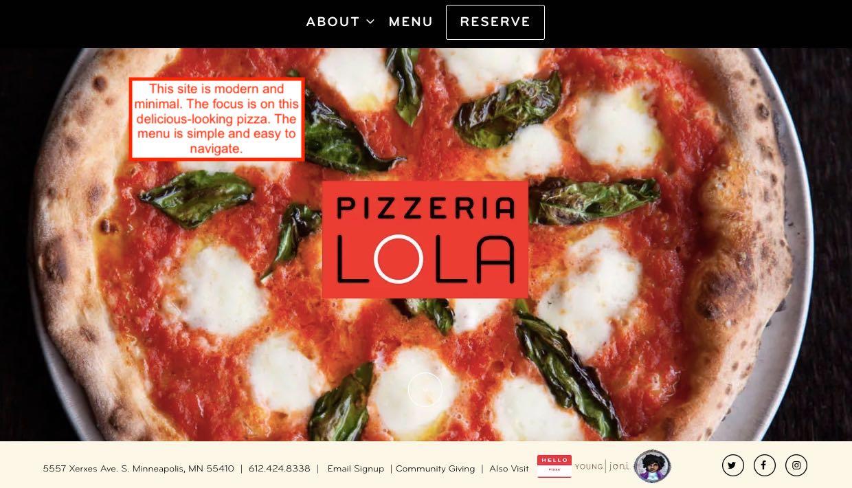 A modern pizzeria website