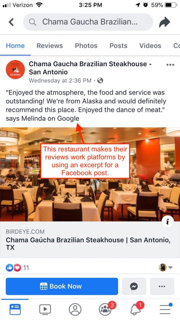 Screenshot of a customer review used as a Facebook post