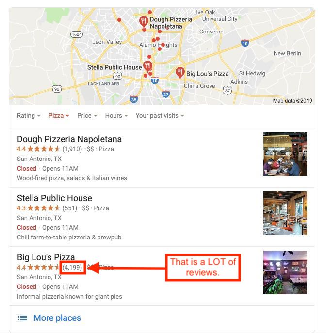 Screenshot of Google Local Pack showing pizzerias with a lot of reviews