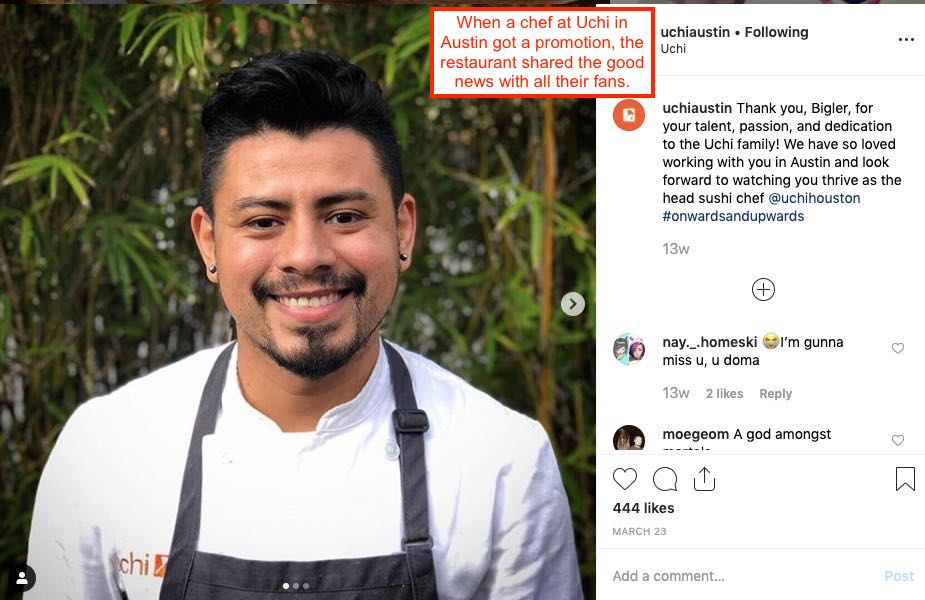 Instagram post of sushi chef