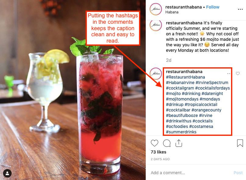 Instagram for restaurant