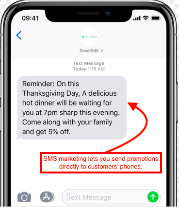 Screenshot of SMS for restaurant promotion