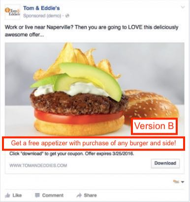 A/B Test of a restaurant Facebook ad