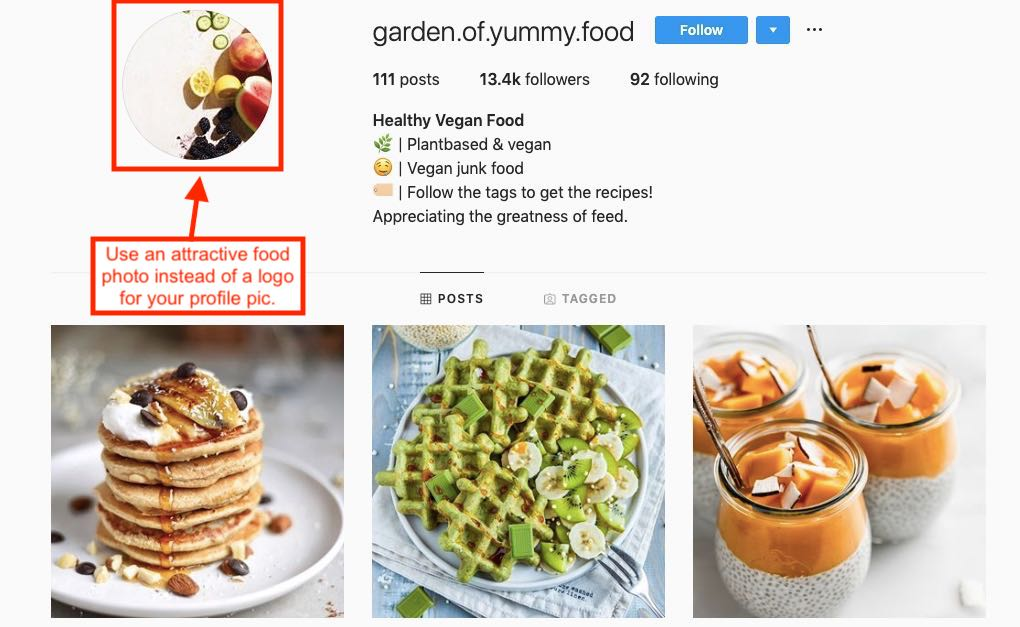 Screenshot of Instagram profile for a food influencer