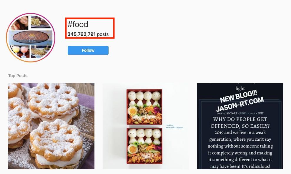 Screenshot of #food hashtag on Instagram