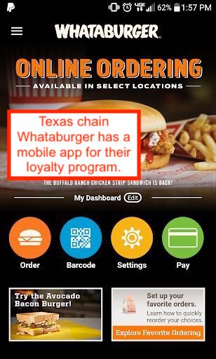Screenshot of Whataburger's mobile loyalty app
