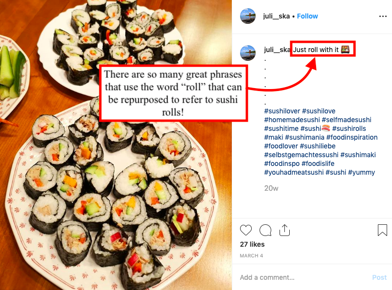 Instagram image of sushi rolls