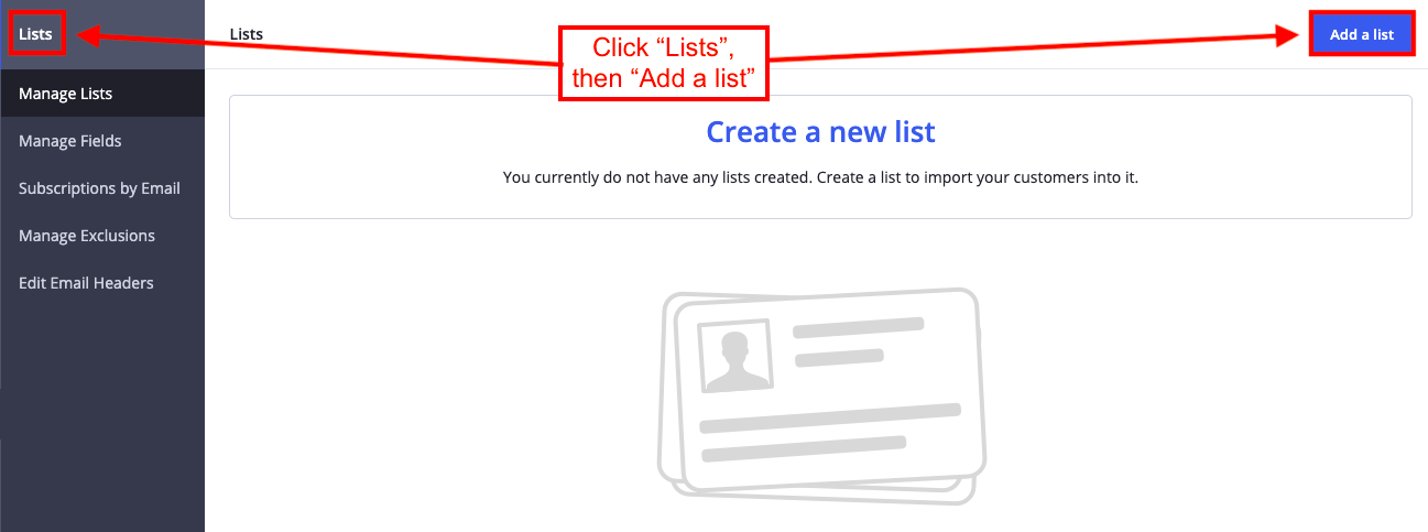 Create a a new list on Active Campaign