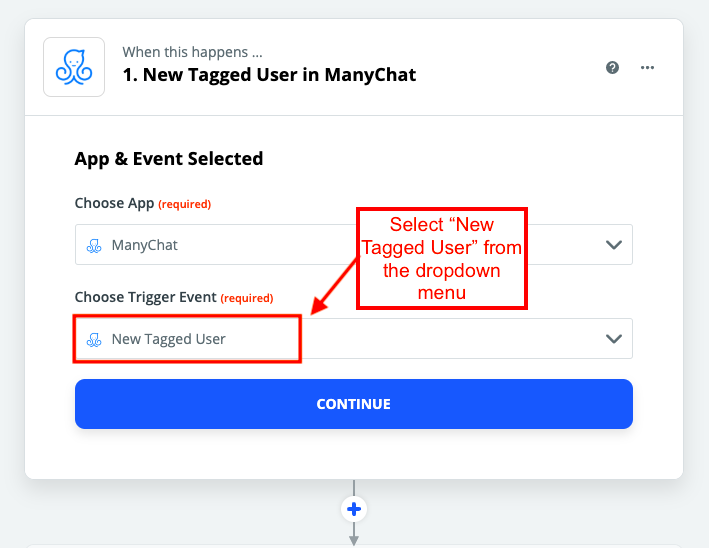 "Add a ""new tagged user"" in ManyChat"