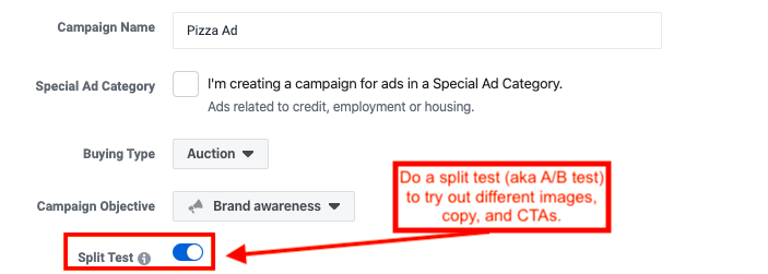 how to set up a split test on Facebook
