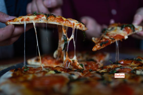 im image of pizza slices being pulled from a pie