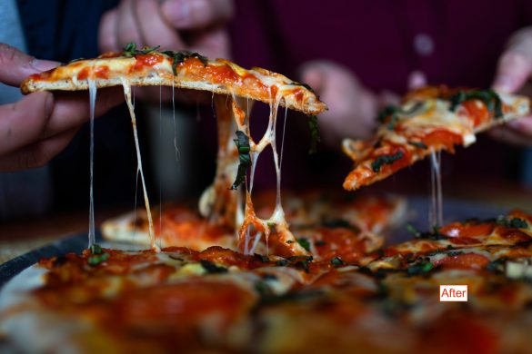 bright image of pizza slices being pulled from a pie