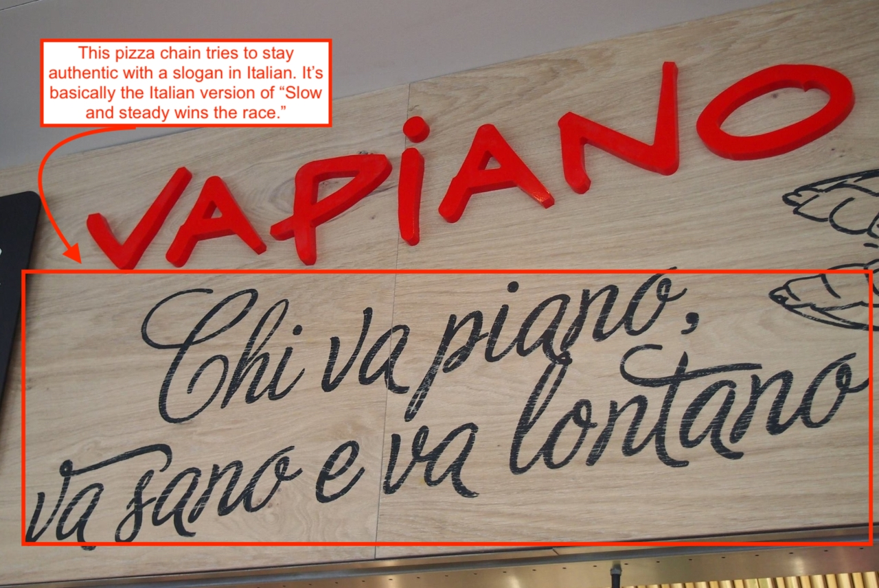 Italian slogan for pizzeria