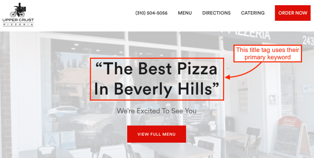 The Best Pizza in Beverly Hills keyword in a title tag