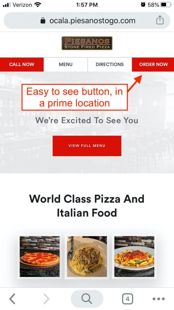 "Red ""Order Now"" button on the top right of a restaurant's mobile website"