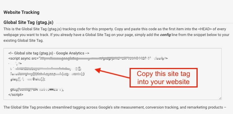 Sample of a global site tag on Google Analytics