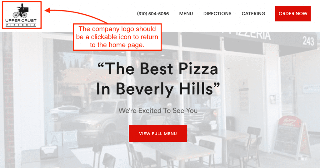 Upper Crust pizzeria website with clickable logo